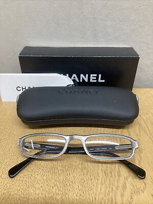 £9.99 • Buy Chanel Ladies Black And Silver Rim Glasses Frame With Case And Box