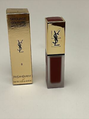 £11.99 • Buy YSL Lip Colour - Tatouage Couture  Matte Stain 8 Black Red Code - See Photos