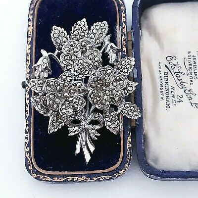 £19.99 • Buy Vintage Signed Exquisite Regd Pansy Marcasite May Birthday Flower Pin Brooch