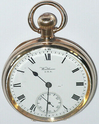 £269 • Buy Beautiful Antique 10ct Rolled Gold Waltham Marquis USA Pocket Watch Dated 1908