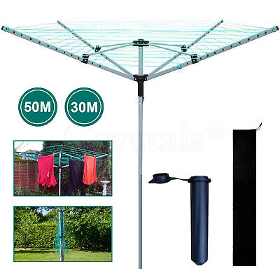 £29.99 • Buy 3/4 Arm Rotary Airer Outdoor Washing Line Clothes Dryer Free Ground Spike+Cover