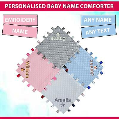 £9.49 • Buy Personalised Baby Taggie Taggy Comforter Blanket For Kids Boys And Girls