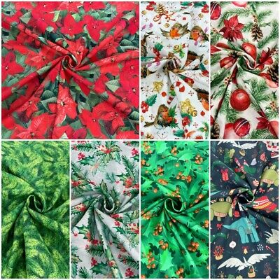 £2.80 • Buy CHRISTMAS Cotton Fabric Digitally Printed Craft And Dressmaking 150cm Wide