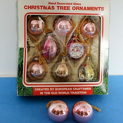 $ CDN12.58 • Buy 10 Vintage Hand Decorated Glass Christmas Tree Ornaments