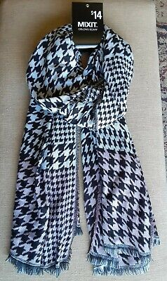 £7.07 • Buy MIXIT Women Acrylic Scarf Oblong ~Houndstooth, Black,White,light Pink~ NWT