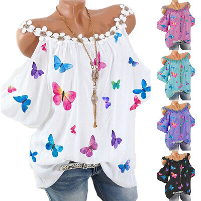 £14.19 • Buy Womens Butterfly Printed Cold Shoulder T-Shirt Tops Loose Shirt Blouse Plus Size