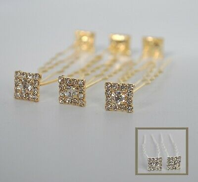 £6.25 • Buy 6 X Square Crystal Hair Pins/accessories/clips. Clear Rhinestones/diamante. UK