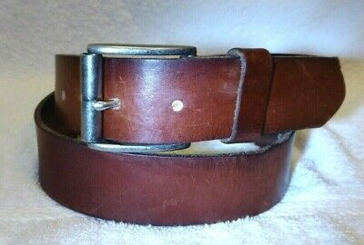$10.99 • Buy Fossil Brown Leather Belt Silver Roller Buckle Size 32 1.5  Wide Excellent Shape
