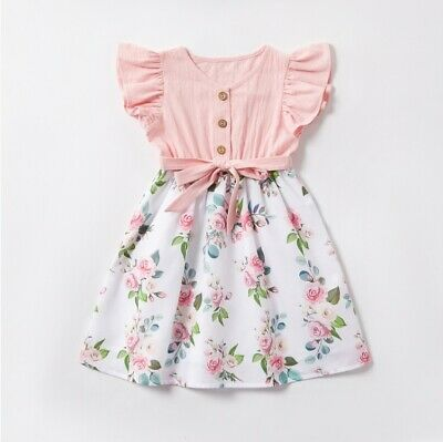 AU29.95 • Buy Size 3/4/6/8/10 Years New Girls Dress Pink Flutter Sleeve Floral Cotton Dress