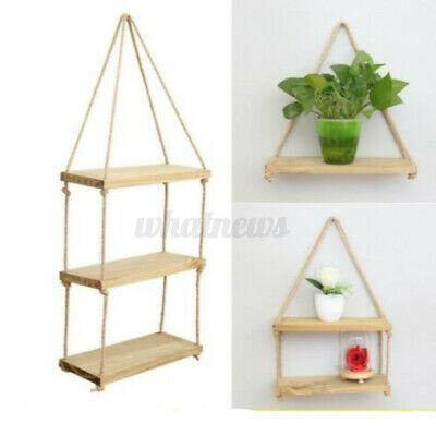 £10.95 • Buy 3 Tier Wooden Hanging Rope Shelf Wall Mounted Floating Storage Rustic Home