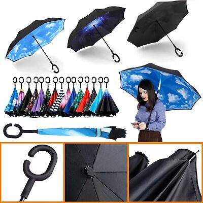 AU15.99 • Buy Windproof Upside Down Reverse Umbrella Double Layer Inside-Out Inverted C-Handle