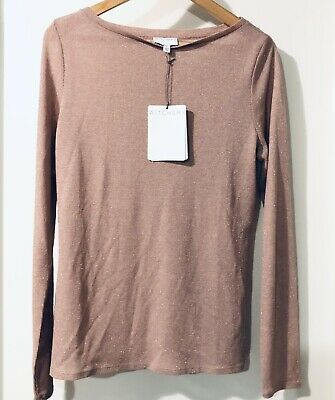 AU26 • Buy Witchery Lurex Top Sweater Knit Long Sleeve Size Large Dusky Pink New With Tags