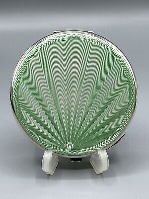 £189.99 • Buy 1959 Solid Sterling Silver & Green Guilloche Enamel Compact Crisford & Norris
