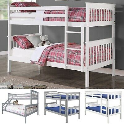 £329.99 • Buy Bunk Bed With Mattresses 3ft Single 4ft6 Double Kids Bed Frame Children Sleeper