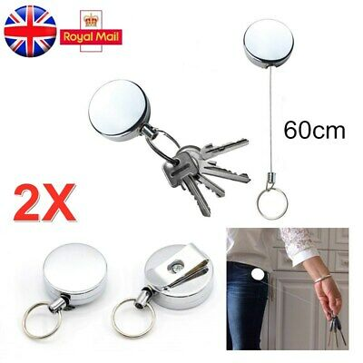 £3.43 • Buy 2PCS Retractable Stainless Pull Ring Key Chain Recoil Keyring Heavy Duty Steel