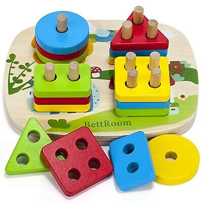 £13.99 • Buy BettRoom Toddler Toys 1 2 3 Years Old Boy And Girl Solid Wooden Toys Preschoo...