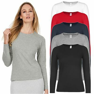 £3.99 • Buy Womens Ladies Plain Long Sleeve T-Shirt Top Fitted Stretch Basic Casual Cotton