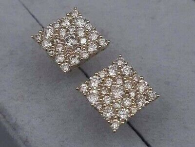 £150 • Buy 18ct YELLOW Gold 0.50ct TCW Diamond Cluster Earrings Very Sparkly