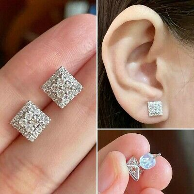 £140 • Buy 18ct WHITE Gold 50 POINTER TCW Diamond Square Cluster Earrings Very Sparkly