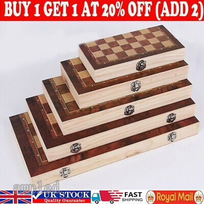 £12.76 • Buy Large Chess Wooden Set Folding Chessboard Backgammon Draughts Wood Board Game #