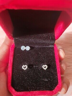 £26 • Buy 18ct White Gold 0.10ct  Diamond OPEN HEART Cluster Earrings Very Sparkly