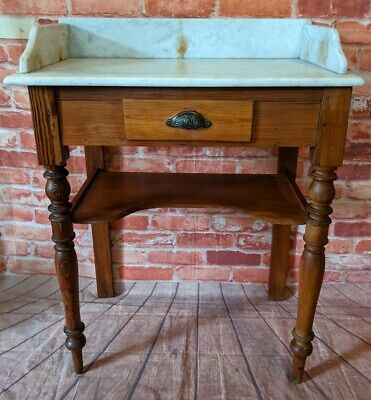 £125 • Buy Antique Pine Washstand With White Marble Top And Drawer