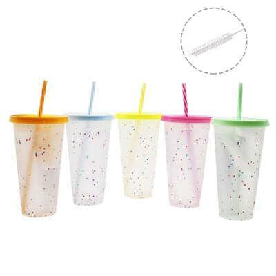 £10.09 • Buy 5 Pcs Reusable 720ml Color Changing Rainbow Cup With Rainbow Straw And Lid Cup