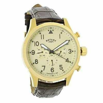 £59.99 • Buy Rotary Gold Plated Case Brown Leather Strap Mens Watch Gs00419/31/48mm Beautiful