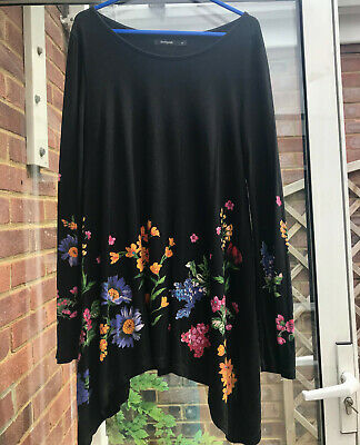 £4.10 • Buy Stunning Desigual Women's Top, Medium,black With Flowers, Great Condition