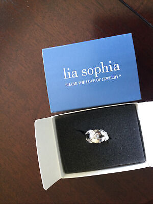 $ CDN5.14 • Buy Lia Sophia Silver Tone Link Front Ring With Crystals Size 7 BNIB Lovely!