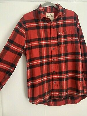 £1.99 • Buy Hollister Red Flannel Check Shirt - Medium M - Lumberjack Casual Button Up Long