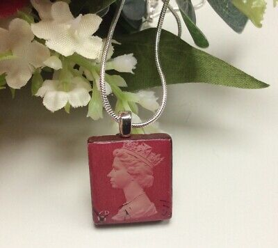 £2 • Buy Handmade Scrabble Tile Pendant- Postage Stamp Necklace - Silver Plated Chain