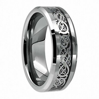 $4.99 • Buy 8mm Men's Stainless Steel Celtic Dragon Ring Carbon Fiber Band Jewelry Size 6-13