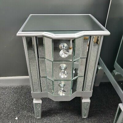 £124.95 • Buy Silver Venetian Mirrored Glass 3 Drawer Bedside Cabinet Mirror Side End Table