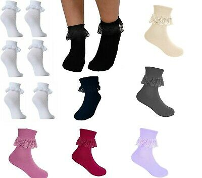 £2.99 • Buy Girls Lace Socks Children's Cotton Rich Frilly Ankle School Black White And More