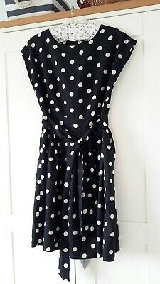 £6.99 • Buy Black & Cream Polka Dot Spotty Fit And Flare Belted Summer Dress 12 Vgc