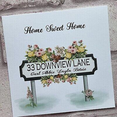 £3.80 • Buy PERSONALISED Handmade NEW HOME CARD Floral Road Sign