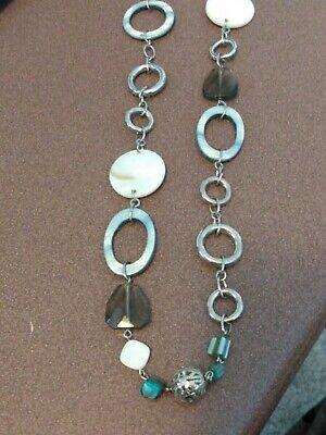 $ CDN9.11 • Buy Lia Sophia Long Silver Genuine Shell, Blue And White, And Bead Necklace
