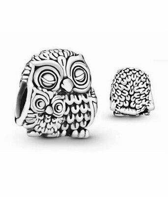 £11.99 • Buy 🟣Genuine 925 Solid Sterling Silver Owl With Baby Charm With Velvet Pouch💕^