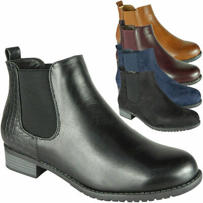£9.99 • Buy Ladies Ankle Boots Women Chelsea Casual Fashion Gusset Slip On Work Shoes 3-8 UK