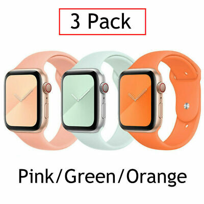AU14.99 • Buy Fits Apple Watch 6 5 4 2  IWatch SE 38 44mm 3-Pack Silicone Sport Band Strap