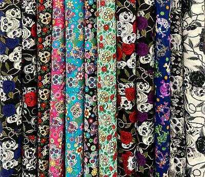 £6.65 • Buy HALLOWEEN SKULL FABRIC Scary Goth Spooky Floral Craft And Dressmaking Material