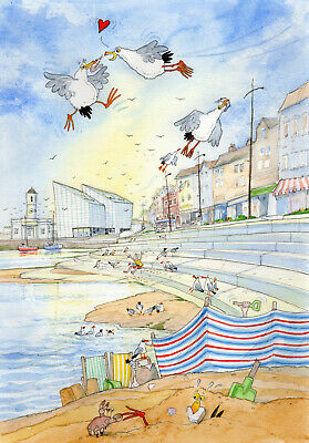 £28 • Buy PICKNICK IN MARGATE, A READY TO FRAME PRINT FROM A WATERCOLOUR By David Bailey