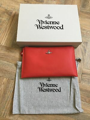 £10.50 • Buy Vivienne Westwood Red Victoria Zip Top Clutch Bag Brand New With Tags 100% Auth