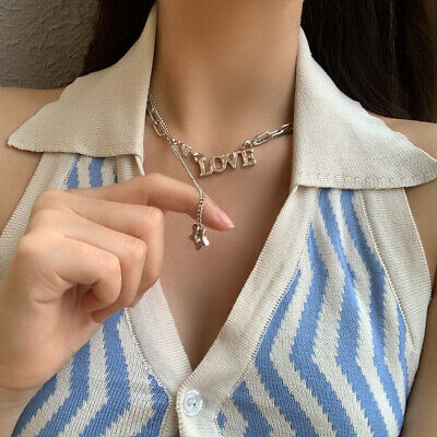 AU4.59 • Buy Star Necklace For Women Korean Love Letters Jewelry Charm Clavicle Chain Fashion
