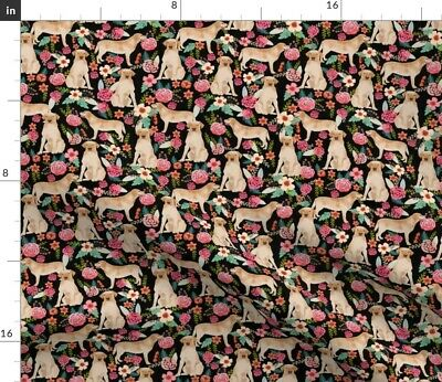 £9.21 • Buy Labrador Cute Florals Dogs Yellow Retriever Spoonflower Fabric By The Yard