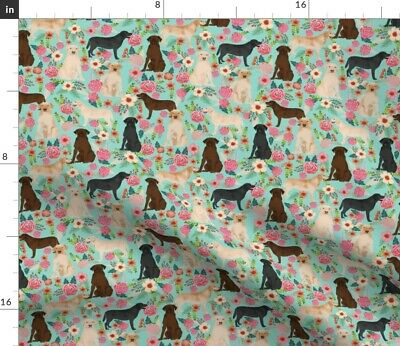 £9.92 • Buy Labrador Florals Mint Cute Dogs Pet Pets Yellow Spoonflower Fabric By The Yard