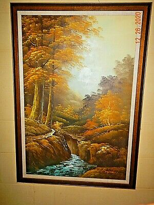 $ CDN88.12 • Buy Original Signed Cantrell Landscape Oil Painting Stetched Canvas Matted & Framed