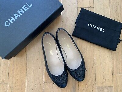 £194.70 • Buy CHANEL Ballet Flats Black Leather Size 36