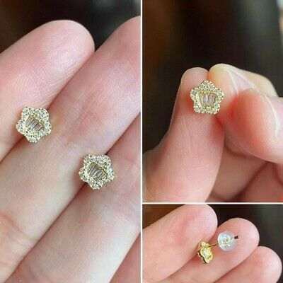 £100 • Buy 18ct YELLOW Gold 0.20ct TCW Diamond Star Flower Cluster Earrings
